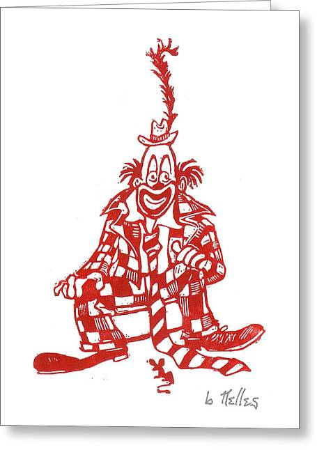 Linoleum Block Print Greeting Cards - Clown with Mouse Greeting Card by Barry Nelles Art