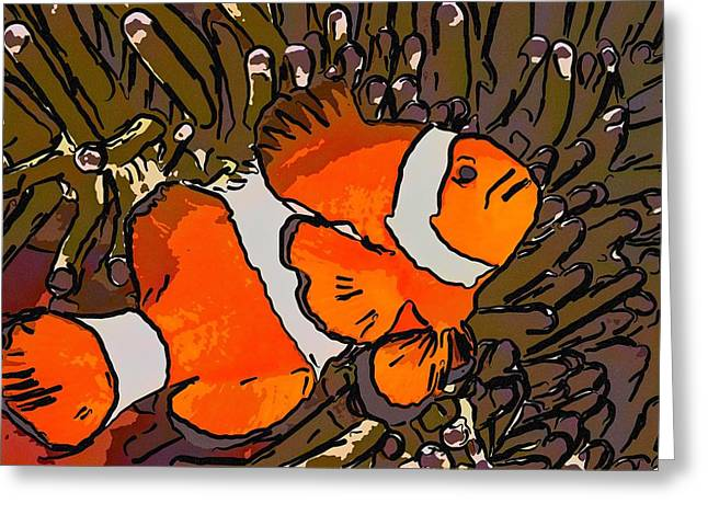 White Paintings Greeting Cards - Clownfish and anemones 3 Greeting Card by Lanjee Chee