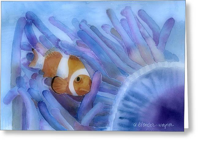 Ocean Creatures Greeting Cards - Clownfish And The Sea Anemone Greeting Card by Arline Wagner