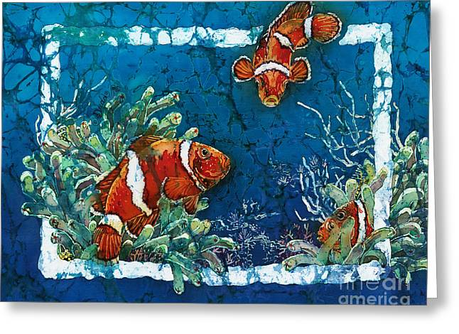 Diving Tapestries - Textiles Greeting Cards - Clowning Around - Clownfish Greeting Card by Sue Duda