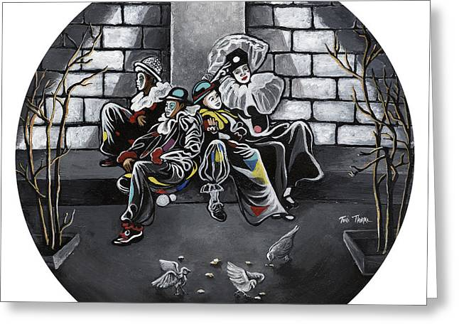 Clown Paintings Greeting Cards - Clowns Night Out Greeting Card by Toni  Thorne