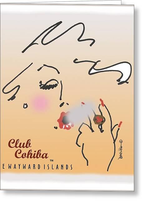 Apron Drawings Greeting Cards - Club Cahiba  bana Greeting Card by Doug Wilson