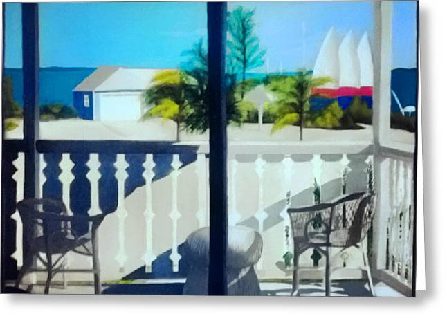Screened Porchs Paintings Greeting Cards - Club Med Turks and Caicos Balcony Greeting Card by Nancy Wilt
