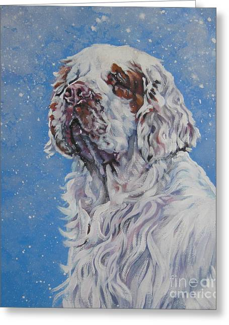 Spaniel Greeting Cards - Clumber Spaniel in Snow Greeting Card by Lee Ann Shepard