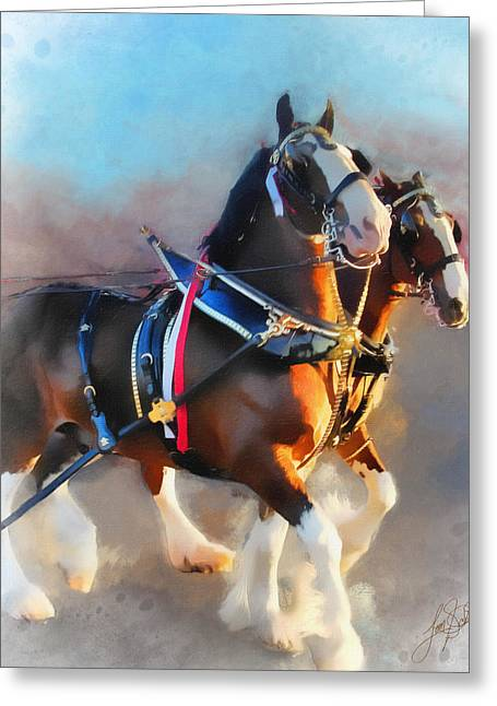 Clydesdales Greeting Card by Tom Schmidt