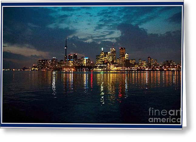 Canvas Wine Prints Mixed Media Greeting Cards - CN  Tower and Toronto Down Town Water Front beauty at night full blast photo Greeting Card by Navin Joshi