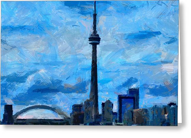 Vincent Dinovici Greeting Cards - CN Tower Toronto TNM Greeting Card by Vincent DiNovici
