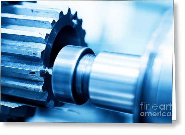 Cnc Greeting Cards - CNC drilling and boring machine at work close-up Greeting Card by Michal Bednarek