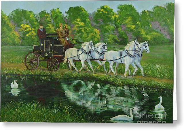 Coach And Four In Hand Greeting Card by Charlotte Blanchard