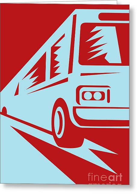 Coach Bus Coming Up Greeting Card by Aloysius Patrimonio