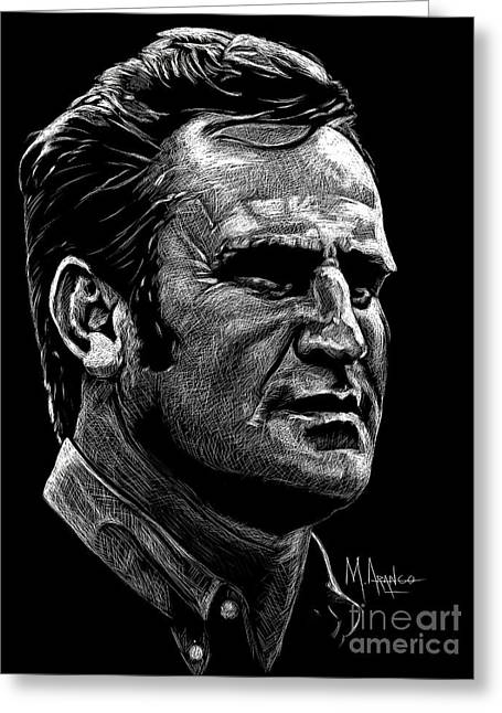 Miami Dolphins Drawings Greeting Cards - Coach Shula Greeting Card by Maria Arango