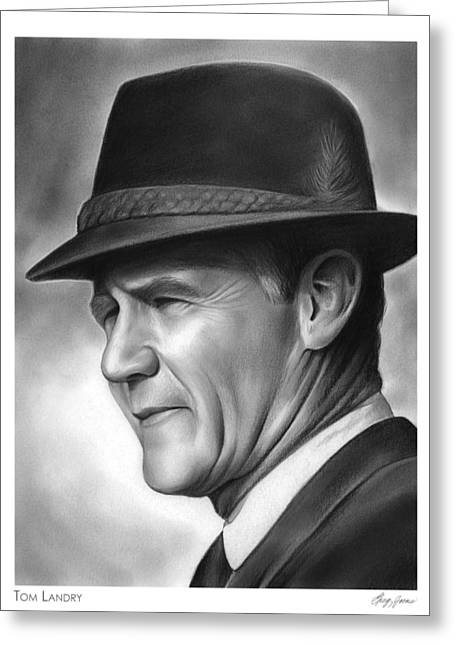 Coach Tom Landry Greeting Card by Greg Joens