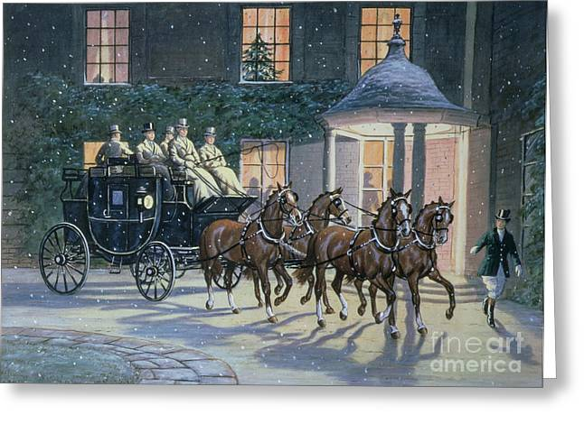 Domestic Scene Greeting Cards - Coaching at Hurlingham Greeting Card by Ninetta Butterworth