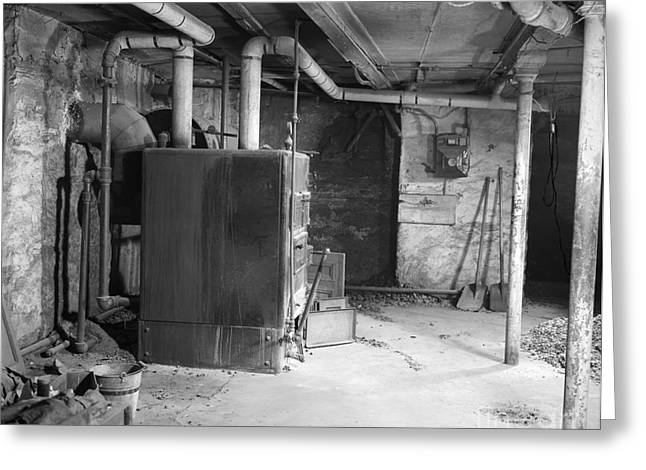 Coal Burning Furnace In Home Basement Greeting Card by H. Armstrong Roberts/ClassicStock