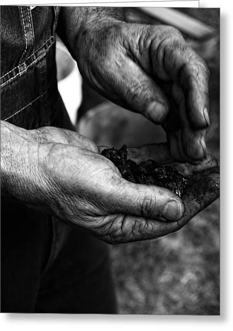 Coal Hands Greeting Card by Brian Mollenkopf