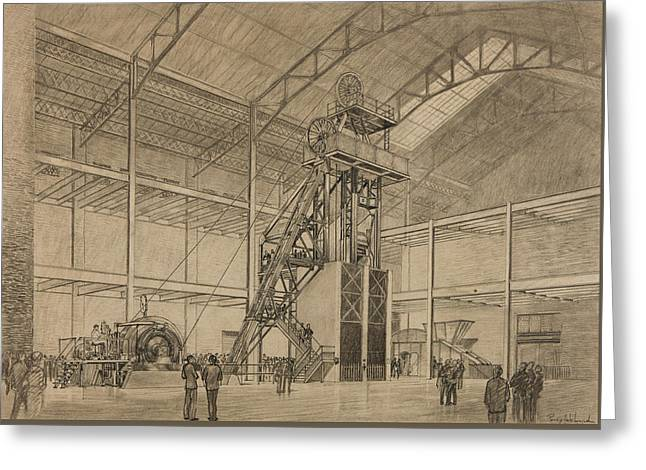 Detailed Ink Drawing Drawings Greeting Cards - Coal Mine Hoist Greeting Card by Percy Hale Lund