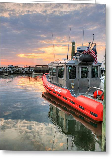 Flag Photographs Greeting Cards - Coast Guard Anacostia Bolling Greeting Card by JC Findley