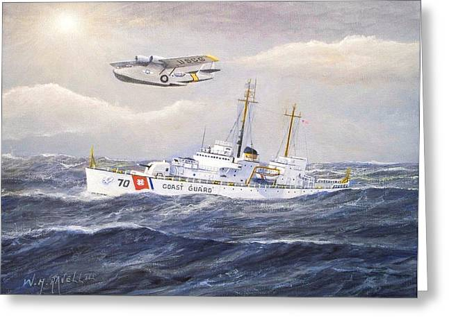 Law Enforcement Paintings Greeting Cards - Coast Guard Cutter Pontchartrain and Coast Guard Aircraft  Greeting Card by William H RaVell III