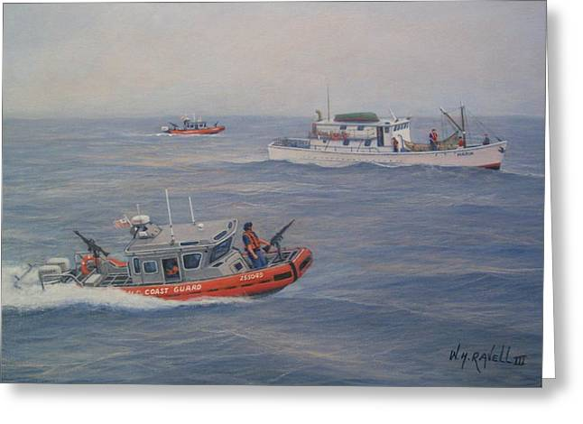 Law Enforcement Paintings Greeting Cards - Coast Guard Nets Catch Of The Day Greeting Card by William H RaVell III