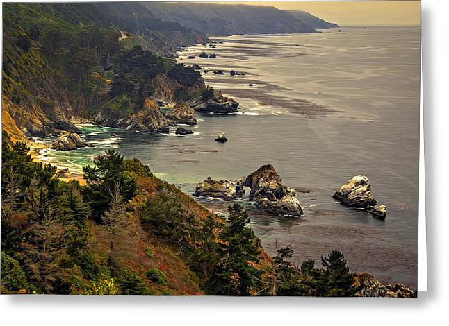 Coast Highway One Greeting Cards - Coast Line Greeting Card by Maria Coulson