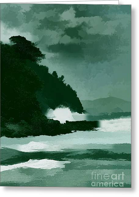 Artistic Landscape Photos Greeting Cards - Coast line storm oil effect Greeting Card by Tom Prendergast