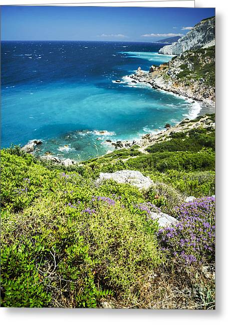 Skies Pyrography Greeting Cards - Coast of Greece Greeting Card by Jelena Jovanovic