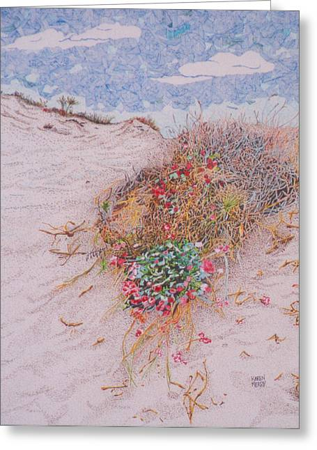 Sanddunes Drawings Greeting Cards - Coastal Buckwheat Greeting Card by Karen Merry