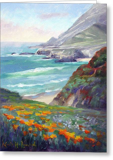 Coastal Color, Big Sur Greeting Card by Karin Leonard
