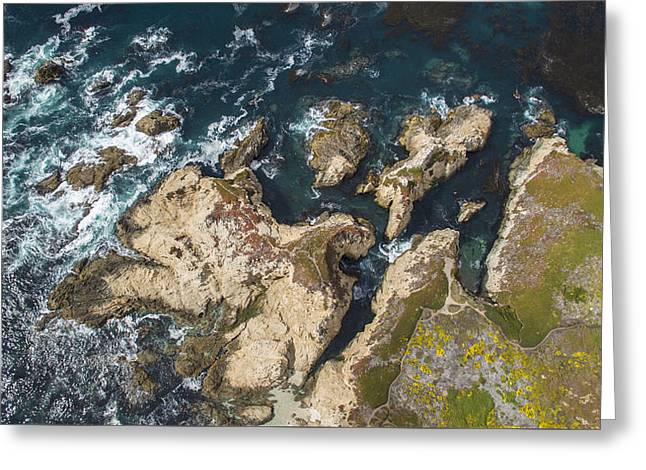 Big Sur Greeting Cards - Coastal Crevices Greeting Card by David Levy