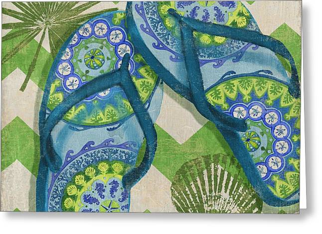 Flops Greeting Cards - Coastal Flip Flops I Greeting Card by Paul Brent