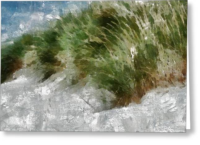 Beach Landscape Pastels Greeting Cards - Coastal Grass Sandy Beach Greeting Card by Russ Harris
