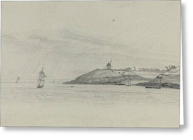 Prospects Greeting Cards - Coastal Landscape With Shipping - Windmill In Distance Greeting Card by Eugene Boudin