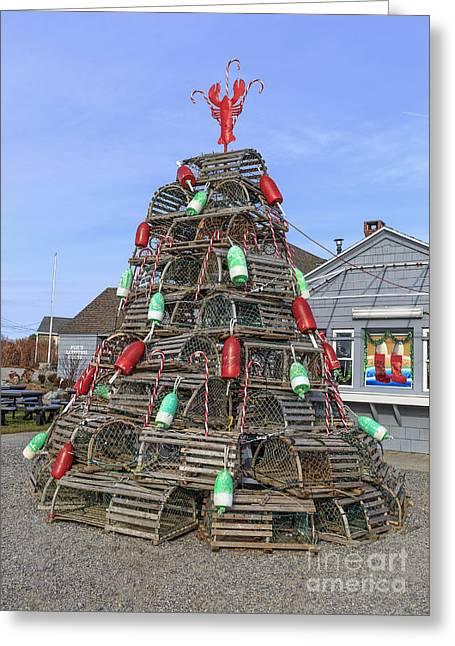 Coastal Maine Christmas Tree Greeting Card by Edward Fielding