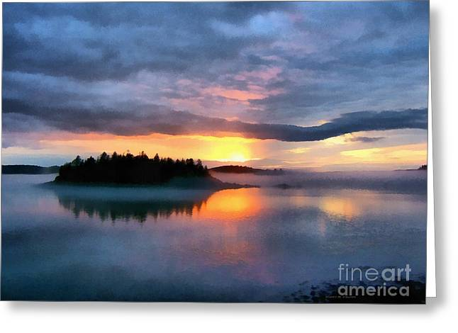 Downeast Greeting Cards - Coastal Maine Sunset Greeting Card by Edward Fielding