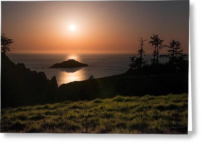 Coastal Moonlight Greeting Card by Leland D Howard
