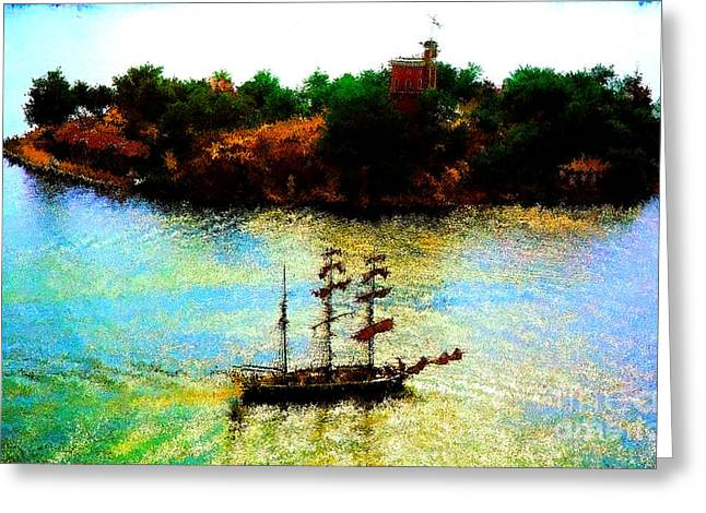 Pirate Ships Greeting Cards - Coastal Patrol in the Calm of the Afternoon Greeting Card by Wernher Krutein
