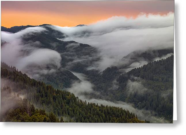 Coastal Range Color And Light Greeting Card by Leland D Howard