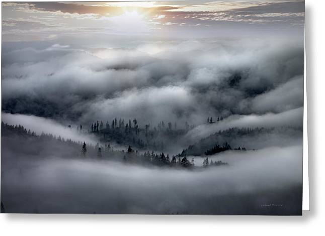 Coastal Range Ocean Fog Greeting Card by Leland D Howard