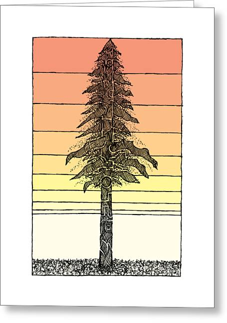 Tree Abstract Greeting Cards - Coastal Redwood Sunset Sketch Greeting Card by Hinterlund