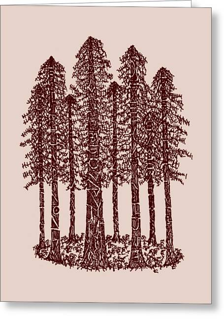 Pen And Paper Greeting Cards - Coastal Redwoods Cathedral Ring - Red Greeting Card by Hinterlund