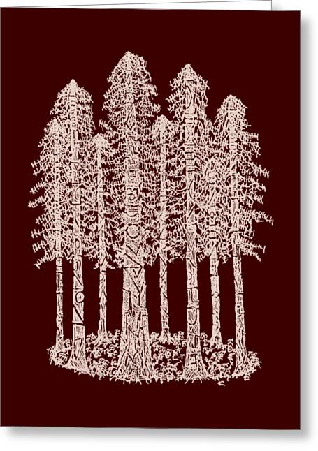 Tree Abstract Greeting Cards - Coastal Redwoods Cathedral Ring - Red Version 2 Greeting Card by Hinterlund