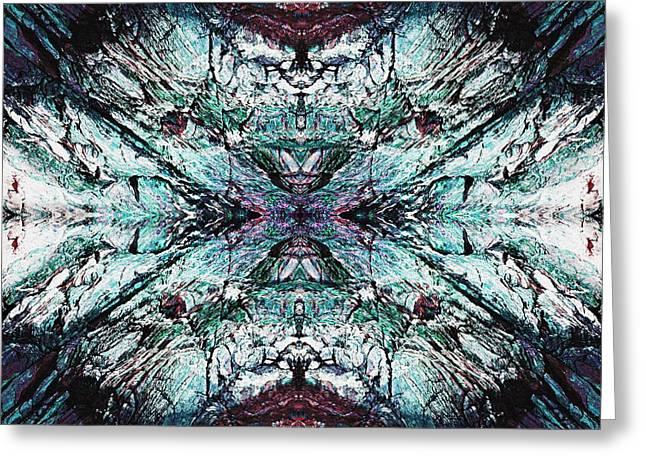 Geometric Artwork Greeting Cards - Coastal Rocks Brillig Turquoise Kaleidoscope Effect Greeting Card by Joy Nichols