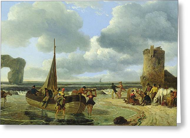 Sand Castles Greeting Cards - Coastal Scene Greeting Card by Jean Louis De Marne