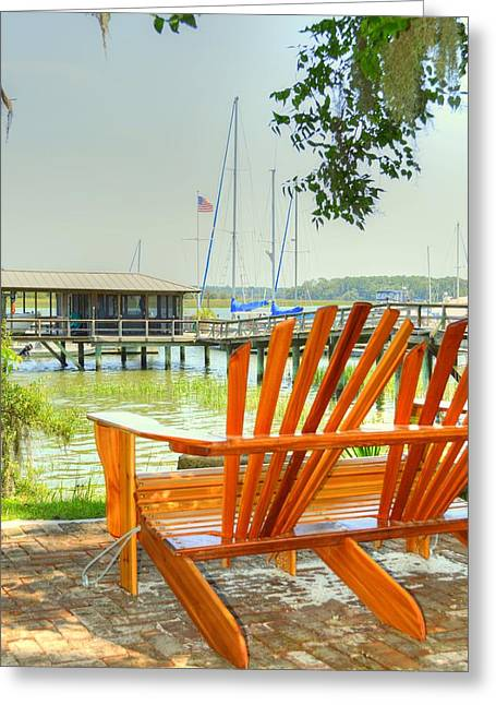 Docked Sailboat Greeting Cards - Coastal seating Greeting Card by Linda Covino
