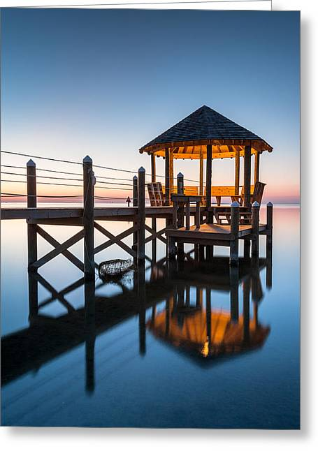 Barrier Island Greeting Cards - Coastal Serenity - Hatteras Island Gazebo on the Pamlico Sound Greeting Card by Mark VanDyke