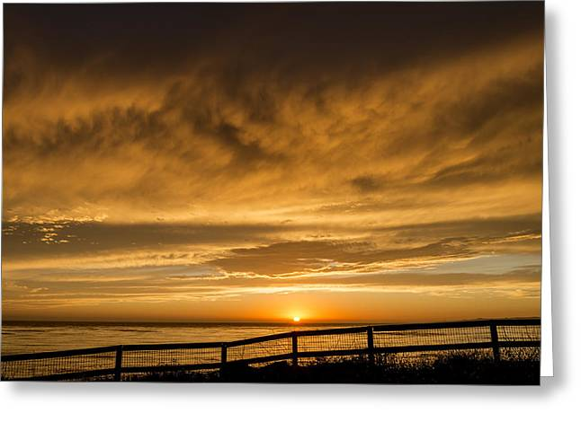 Colorful Cloud Formations Greeting Cards - Coastal Sunset with Great Clouds Greeting Card by Kerry Drager