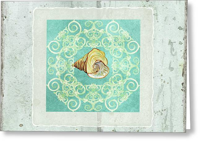 Coastal Trade Winds 2 - Driftwood Seashell Scrollwork Greeting Card by Audrey Jeanne Roberts