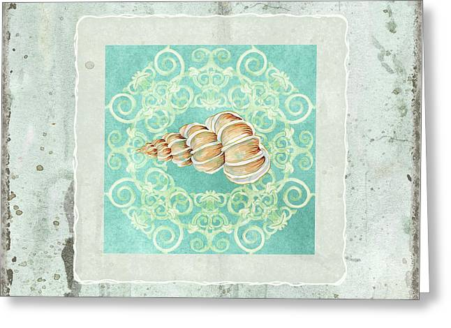 Coastal Trade Winds 4 - Driftwood Precious Wentletop Seashell Greeting Card by Audrey Jeanne Roberts