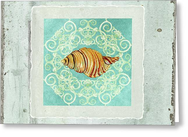 Coastal Trade Winds 5 - Driftwood Clandestine Triton Seashell Scrollwork Greeting Card by Audrey Jeanne Roberts