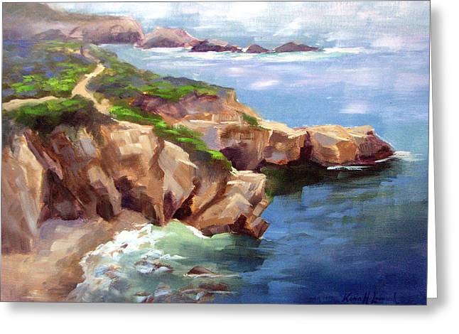 Coastal Trail, Big Sur Greeting Card by Karin Leonard